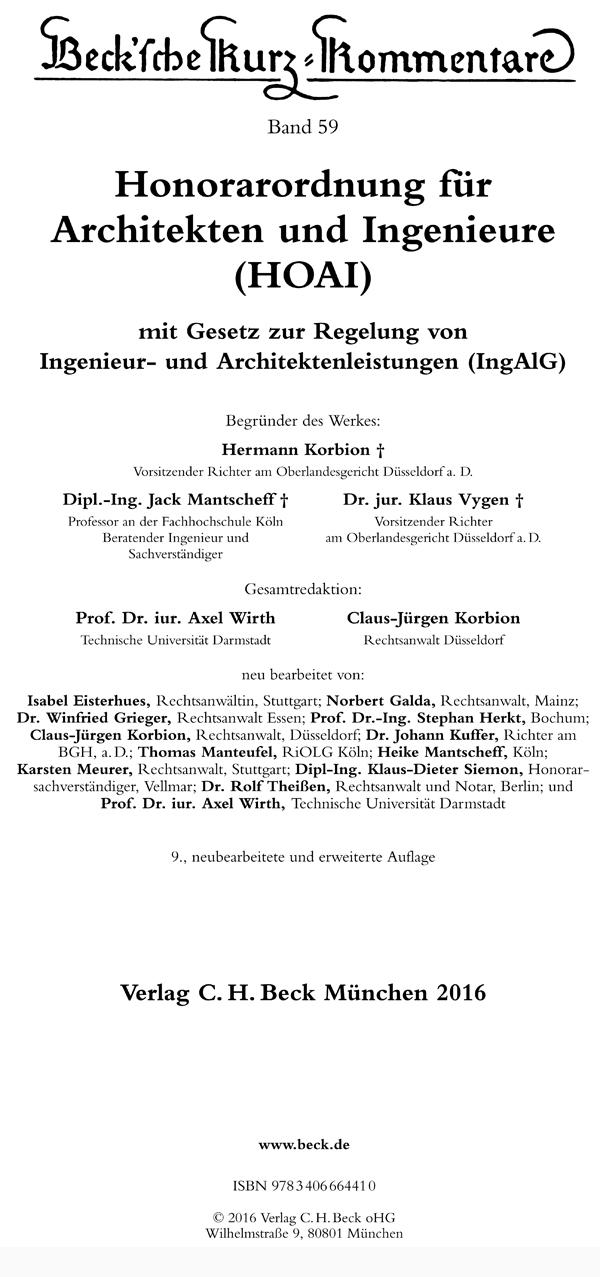 Vpr Online Honorarordnung Fur Architekten Und Ingenieure